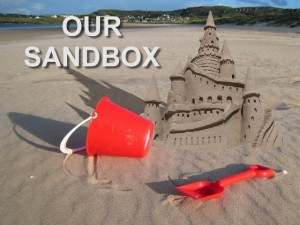 sandcastle and view of beach