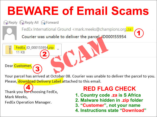 fake fedex email scam graphic